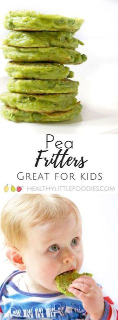 Pea fritters are a great finger food for kids. Great for baby-led weaning and for fussy eaters. via @hlittlefoodies