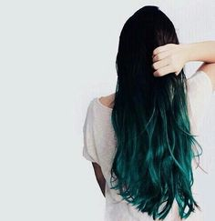 Blue green ombre hair