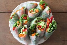 veggie rice paper wraps. simple & delicious.    Kate and I make these all the time with avocado, cuc, red pep, shredded carrot, and cilantro.  Healthy and everyone loves em!