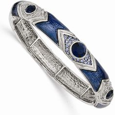 1928 Jewelry Silvertone Dark/Light Blue Crystal & Glass Enamel Stretch... ($38) ❤ liked on Polyvore featuring jewelry, bracelets, light blue jewelry, stretch jewelry, crystal jewelry, enamel bangle and silvertone jewelry