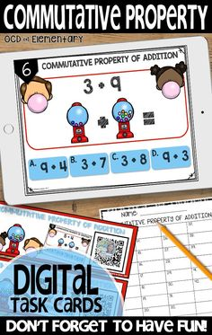 Grab this digital task card set to keep your elementary students learning! This set covers commutative property- perfect for K, and early grade. Students just scan the qr code and begin working. Perfect for math centers! 1st Grade Activities, Early Finishers Activities, Math Addition, Addition And Subtraction, Commutative Property Of Addition, Distributive Property, Properties Of Addition, Basic Math, Math Concepts