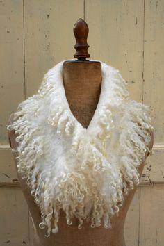 Nunofelted scarf  natural Wensleydale curly wool locks by roseFelt, €79.00