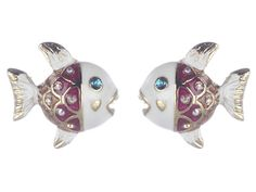 Betsey Johnson Jewels of the Sea Fish Stud Earrings
