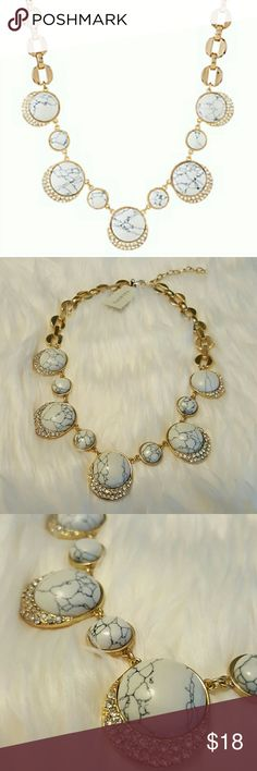 "Talbots Bubbly Necklace Matching Earrings also listed in my closet.  Effervescent yet elegant, our Bubbly Bead Necklace makes a modern classic statement with chic marbled howlite beads stranded together in various sizes. The speckled stones are expertly cast in shimmery gold plating and surrounded by glistening pav? adornments that offset the matte finish of the smooth, rock-like baubles.   18"" long 3"" extender Lobster-claw clasp Shiny gold plating with light antiquing Imported Talbots…"