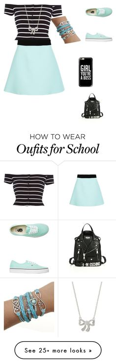 """""""School day"""" by jmcwilliams2003 on Polyvore featuring River Island, FAUSTO PUGLISI, Vans, Poiray Paris, Casetify, Moschino, women's clothing, women's fashion, women and female"""
