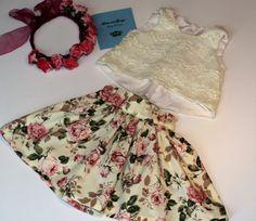 girls vintage rose skirt