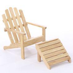 Miniature Oak Adirondack Chair And Footstool