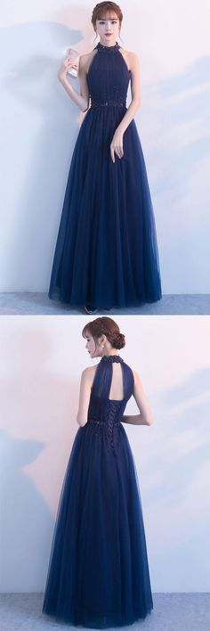 Dark blue tulle high neck long prom dress, dark blue bridesmaid dress, blue formal dress