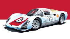 Automobile, Car Illustration, Car Posters, Porsche Cars, Car Sketch, Car Drawings, Car Painting, Vintage Racing, Automotive Design