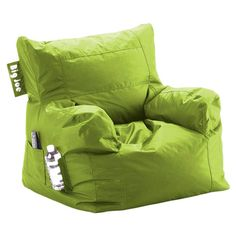 Get cozy in the game room or den with this beanbag lounger in spicy lime, featuring a drink holder and side pocket. Made in the USA.