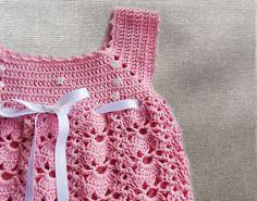 Baby dress newborn dress crochet baby dress  pink by NeedleandLine
