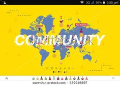 Breaking news on smartphone with background of the world map modern banner global community and teamwork world map on background flat vector illustration map gumiabroncs Images