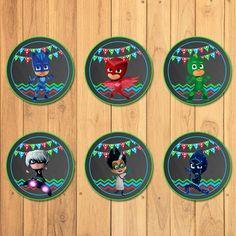 Pj Masks Cupcake Toppers Chalkboard * Pj Masks Stickers * Pj Masks Printables * Pj Masks Birthday * Pj Masks Party Favors by SometimesPie