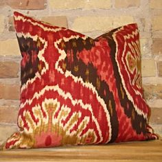 Red and Chocolate Brown Ikat Print Pillow — Gotcha Covered