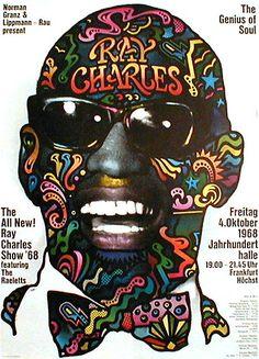 1968 Ray Charles Concert Poster, Frankfurt, Germany