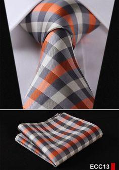 "PLAID NECKTIE Stripe 3.4""100%Silk Wedding Jacquard Woven Necktie Pocket Square set"