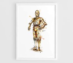 C3PO Star Wars Movie Poster (C3PO Art Poster, Star Wars Art, Star Wars Poster) -A3 Wall Art Print Poster of the Original Watercolor Painting