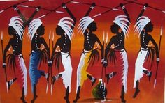 """Tingatinga Art  African Ceremony Oil on Canvas, Artist Mr TH  """"18×12""""  45×30cm  Unframed.  Free Shipping Worldwide (http://africanartonline.com/African-Ceremony-Oil-on-Canvas)"""