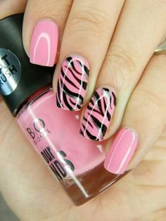 Pink zebra striped nails