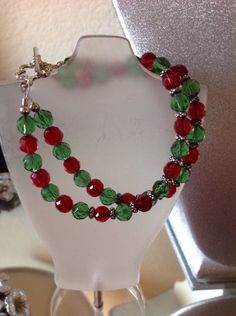 Christmas bracelet red and green beads by LidyangelsBoutique on Etsy https://www.etsy.com/listing/212487204/christmas-bracelet-red-and-green-beads
