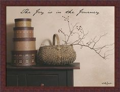 The Joy is the Journey by Billy Jacobs Primitive Country Still Life 26x20 Framed Art Print Picture by Framed Art by Tilliams, http://www.amazon.com/dp/B00A61BVE2/ref=cm_sw_r_pi_dp_c41vrb0CJFS55