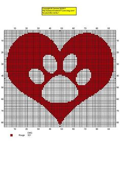 coeur patte Wouldn't this make a great single crochet bedspread or lap blanket for a doggy lover.