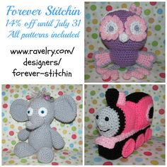 #Celebrate with #ForeverStitchin and automatically receive your #discount at checkout until July 31! #handmade #crochet #yarn #mmmakers #owl #train #elephant #giraffe #tiger #butterfly #monkey #robot #flower there's something for everyone! <3