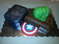 marvel comics thors hammer hulk fist captain america shield 7th birthday cake