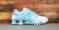 Nike Shox Current Glitter Kicks Running Shoes White/Tiffany Blue