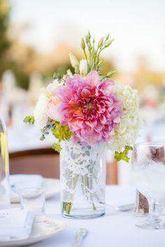 Vintage Ivory Pink Centerpiece Dahlia Garden Hydrangea Rose Wedding Flowers Photos & Pictures - WeddingWire.com