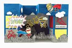 Everyday Hero, Lift Me Up, 3D, Interactive, Double Pop-Up, Gate Fold Box Card, PDF Tutorial, Bronwyn Eastley, Stampin' Up!, #addinktivedesigns
