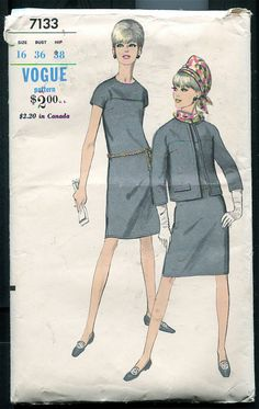 1960s Dress & Jacket  Vogue Pattern 7133 by DesignRewindFashions, $12.00