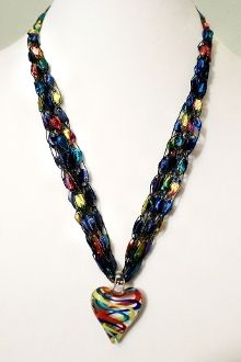 Crocheted Ladder Ribbon Necklace with Pendant $17