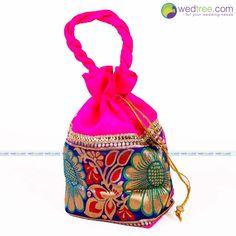 Potli Bag - Golden Flower Design with Rectangle Base | #Wedtree #PotliBags #DesignerPotliBags
