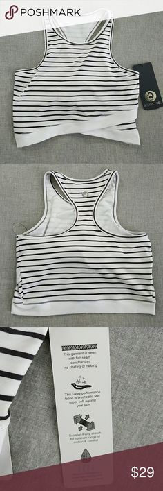 Active Crop Top Beautiful black and white stripe active crop top. Superior fabric! NWT. Tops Crop Tops
