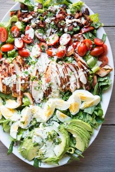 Fed and Fit - BBQ Chicken Cobb Salad with Paleo Creamy Jalapeño Dressing Corn Salad Recipes, Summer Salad Recipes, Summer Salads, Paleo Recipes, Low Carb Recipes, Paleo Food, Rib Recipes, Dinner Recipes, Fed And Fit