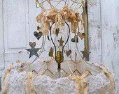 Large lampshade decorated lighting home decor muslin adorned metal stars hearts lamp shade home decor Anita Spero