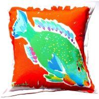 Coral Reef Parrotfish Indoor Outdoor Pillow