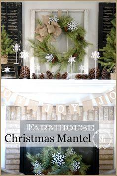 christmas farmhouse mantel lots of farmhouse inspiration stonegableblogcom christmas mantels country christmas - Christmas Shelf Decorations