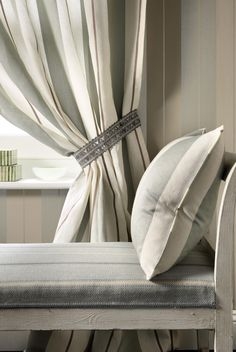 Cairness by Nina Campbell grey and white stripe curtains Tassel Curtains, Striped Curtains, Home Curtains, Curtains With Blinds, Nina Campbell, Chess Store, Country Style Curtains, Osborne And Little, Curtain Tie Backs