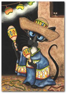 Siamese Cat Mouse Feliz Cinco De Mayo by DreamCatchingStudio