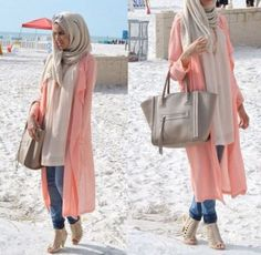 peach long cardigan spring style, How to get hijab trendy looks http://www.justtrendygirls.com/how-to-get-hijab-trendy-looks/