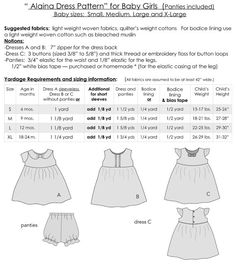"Baby Dress Pattern, 3 dresses in one pattern, 3 for the price of 1, Digital DRESS SEWING PATTERN FOR BABY GIRLS - includes panties The Alaina Dress -pattern includes 4 SIZES - TO FIT BABY GIRLS AGES: 6 months, 9 months, 12 months and 18-24 months  -So many design options with this versatile pattern. -Dress A features an adorable ""Bow Collar"". Sleeveless or short sleeved. -Dress B is embellished with two ruffles down the center of the bodice and includes waist ties on the back. -Dress C has…"