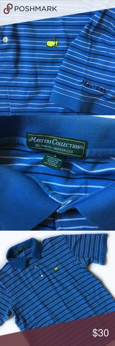 Masters Collection Polo - 60s Two Ply - Men's L Authentic Augusta National Masters Collection golf polo. In great condition. No pulls, stains, or tears. Mens large. Blue, white and black stripes. See pictures. Masters Collection Shirts Polos