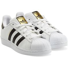 Adidas Originals Leather Superstar Sneakers ($76) ❤ liked on Polyvore featuring shoes, sneakers, adidas, zapatos, white, adidas originals trainers, adidas originals shoes, white trainers, striped shoes and leather lace up sneakers