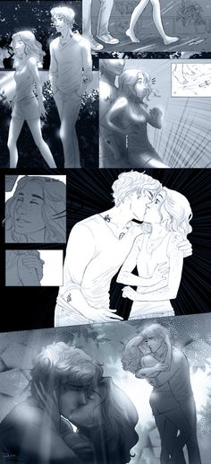 Jace and Clary's first kiss at midnight in the greenhouse