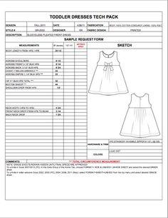 Childrens Toddler Spec Sheet Sample - Womens, Mens, Kids & Plus Size Apparel…
