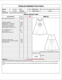 Childrens spec sheet example