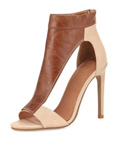 Jeffrey Campbell Vandross Wide T-Strap Sandal, Brown/Tan
