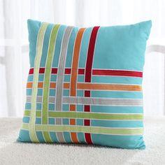 "Fiesta 18"" Kyla Embroidered Decorative Pillow - Geometric, Blue"